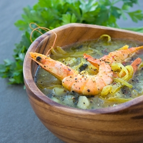 Potato Soup with Curry Prawns