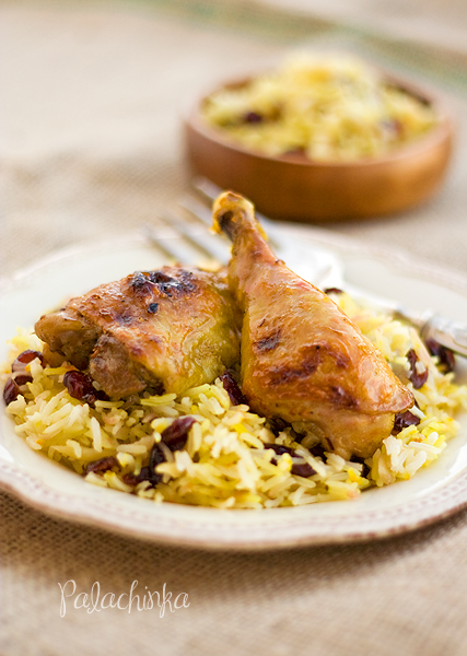 Persian Roasted Chicken with Dried Cherry-Saffron Rice