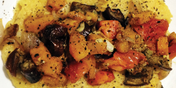 Foods I love! Foods I experiment with!: Polenta and Oven Roasted Vegetables