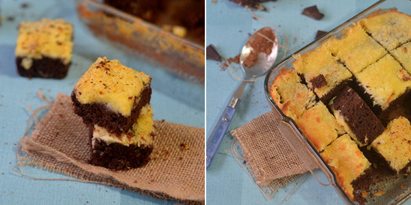 UK Rasoi: Coconut Milk Brownies, with creamy coconuty spread