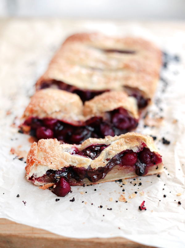 Fast Cherry Puff Pastry Chocolate Pie