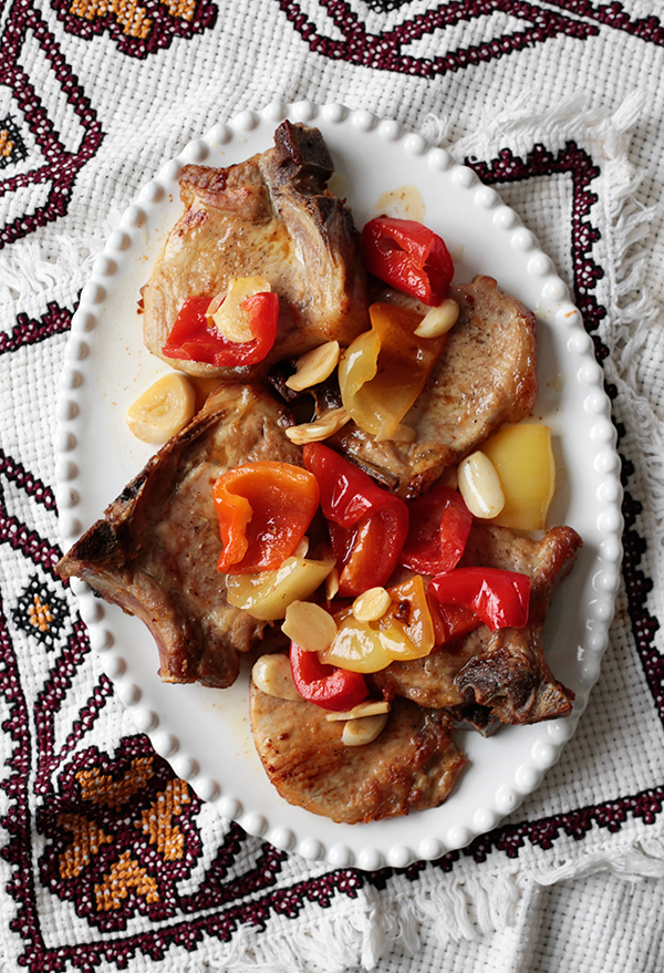 Pork Chops with Garlic and Pickled Peppers